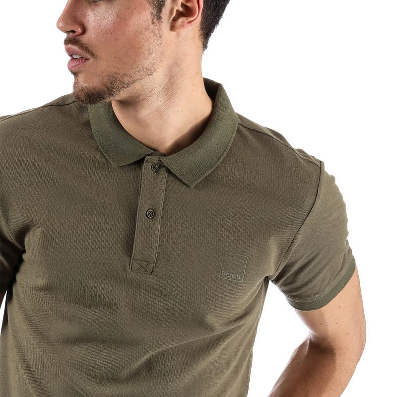 Bench Mens Classic Cotton Polo Shirt Khaki