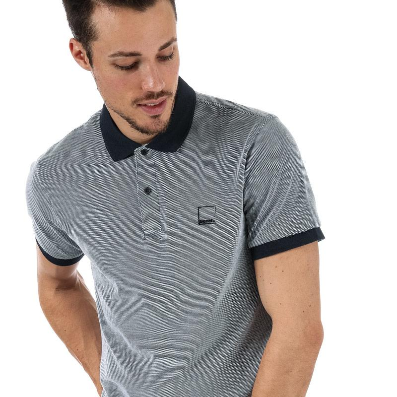 Bench Mens Fabric Mix Polo Shirt Navy