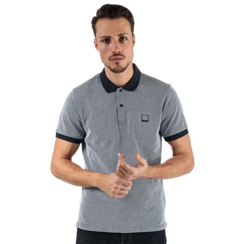 Bench Mens Fabric Mix Polo Shirt Navy