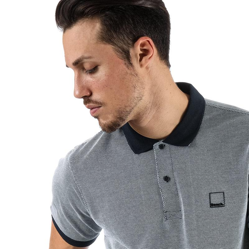 Bench Mens Fabric Mix Polo Shirt Grey