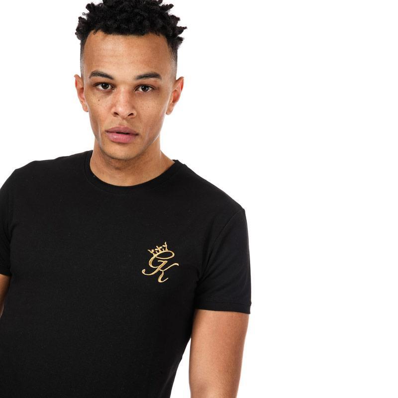 Tričko Gym King Mens GK Longline Fitted T-Shirt Black Gold