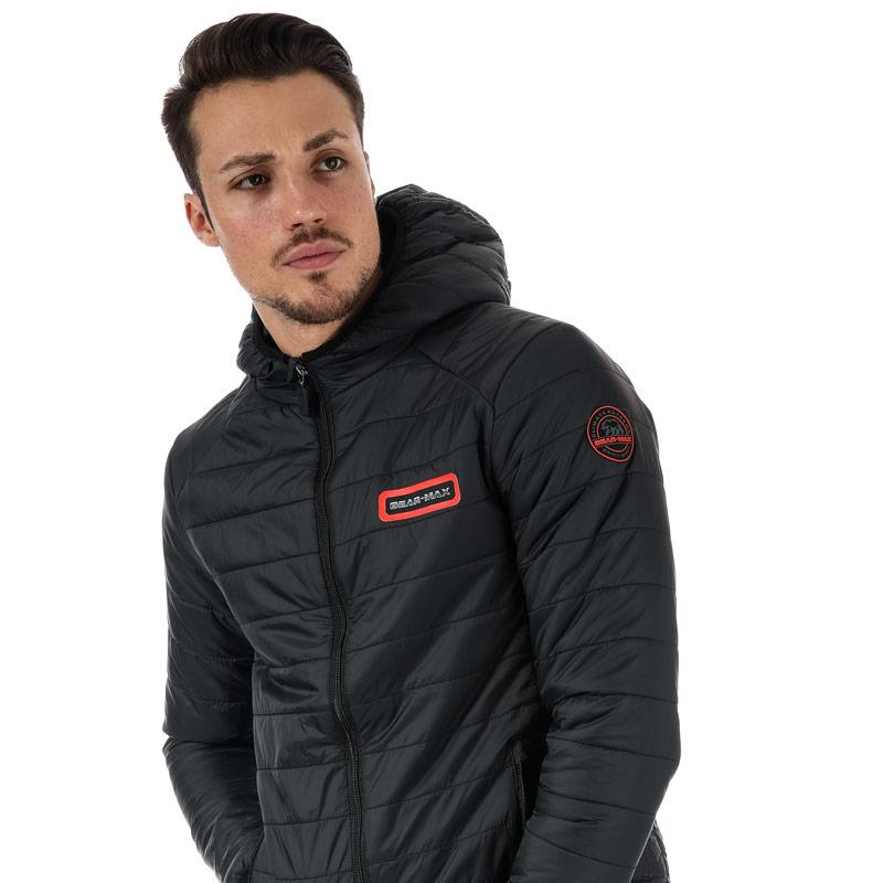 Bear Max Mens Grizzly Hooded Puffer Jacket Navy
