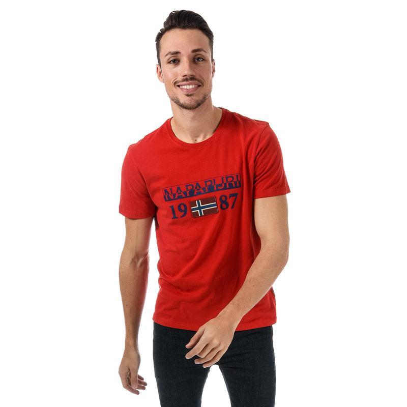 Tričko Napapijri Mens Solin SS T-Shirt Red