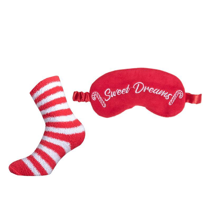 Ponožky Brave Soul Womens Candy Cane Eyemask And Bed Socks Set red white