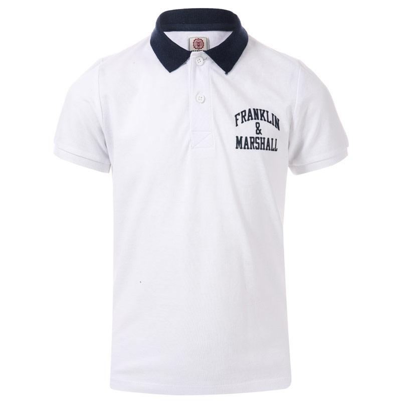 Tričko Franklin And Marshall Junior Boys Core Logo Polo Shirt White