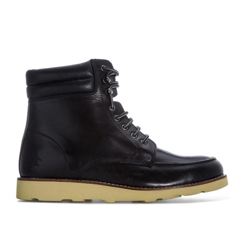 Boty Original Penguin Mens Clondyke Leather Boots Black