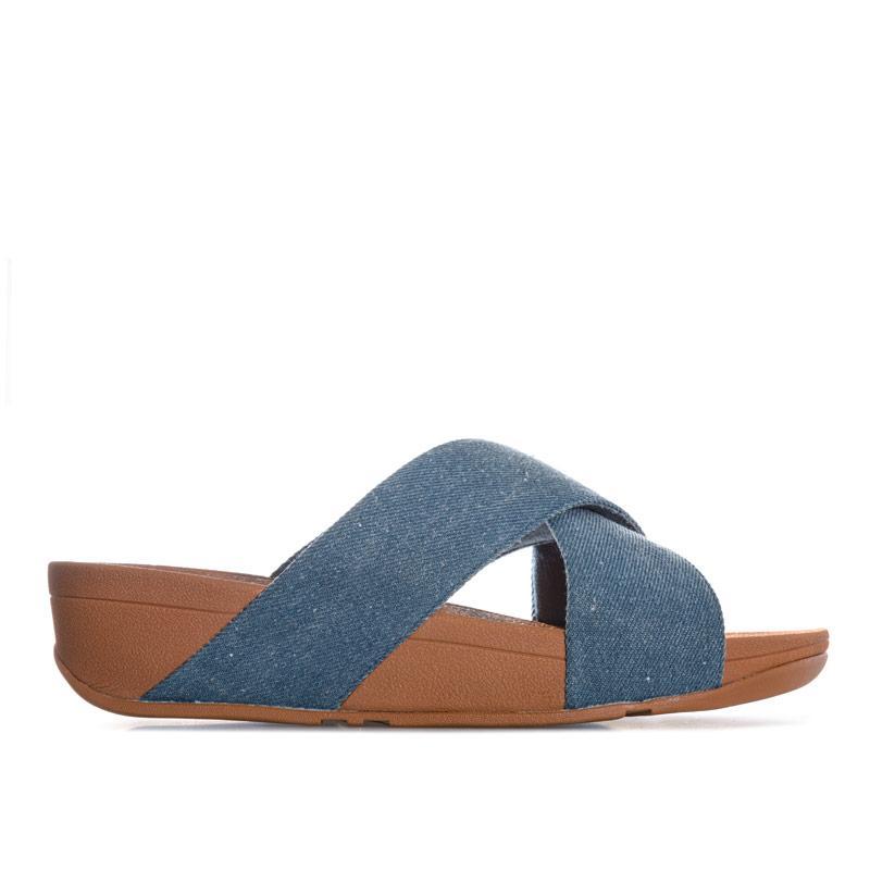 Boty Fit Flop Womens Lulu Cross Slide Sandals Denim