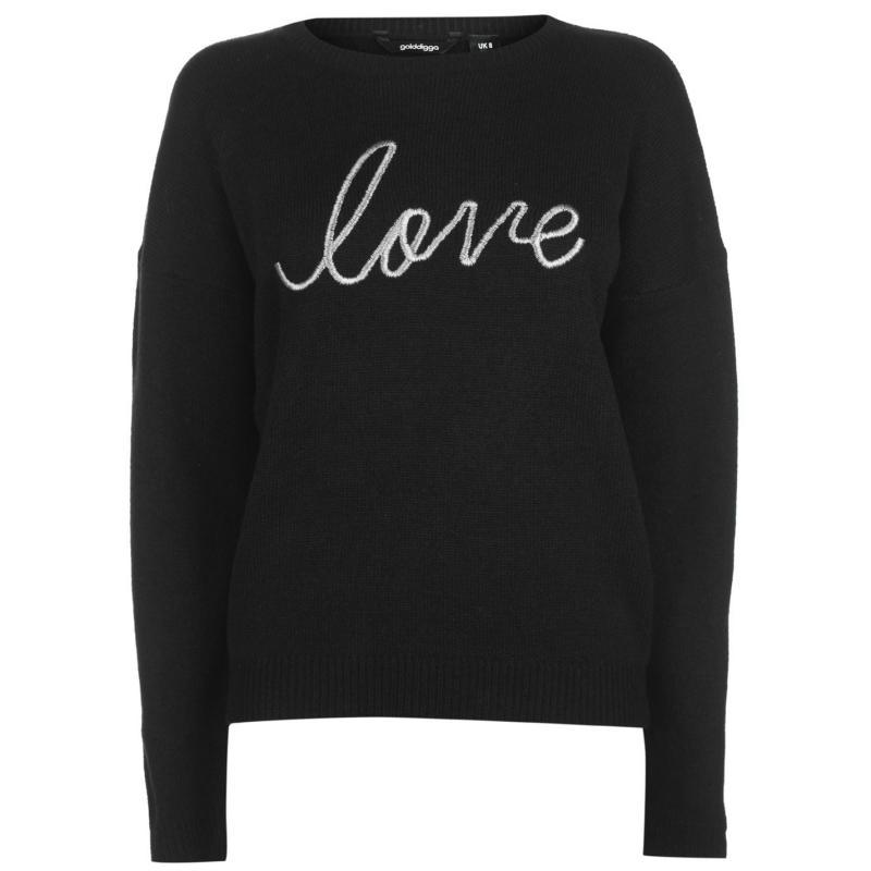 Svetr Golddigga Slogan Knit Jumper Ladies LOVE