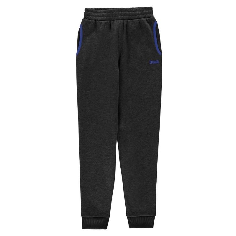 Tepláky Lonsdale Poly Closed Hem Jogging Pants Junior Boys Black Marl