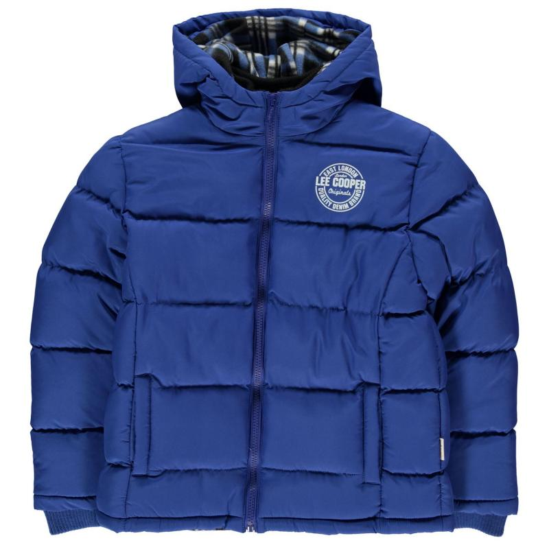 Bunda Lee Cooper 2 Zip Bubble Coat Junior Boys Royal Blue