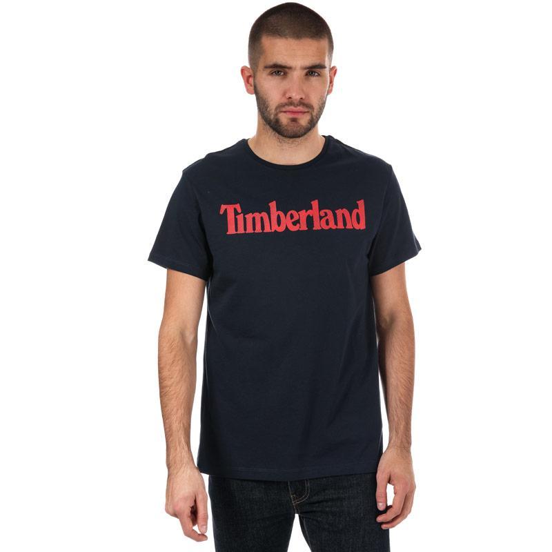 Tričko Timberland Mens Season Linear Logo Crew T-Shirt Navy