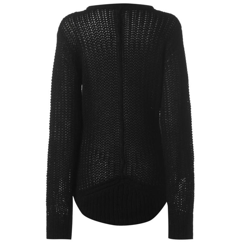 Svetr Miso Knitted Zip Jumper Ladies Black