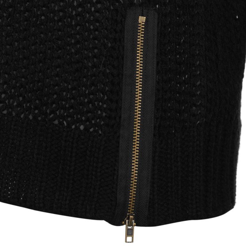 Svetr Miso Loose Knit Zip Jumper Ladies Black