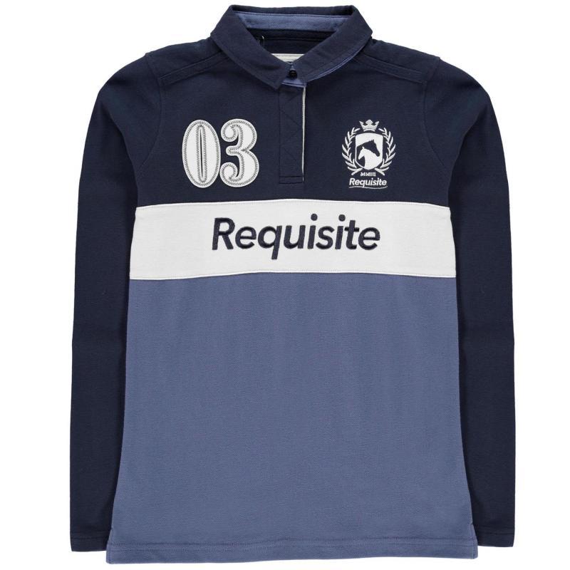 Requisite Girls Long Sleeve Polo Shirt Navy