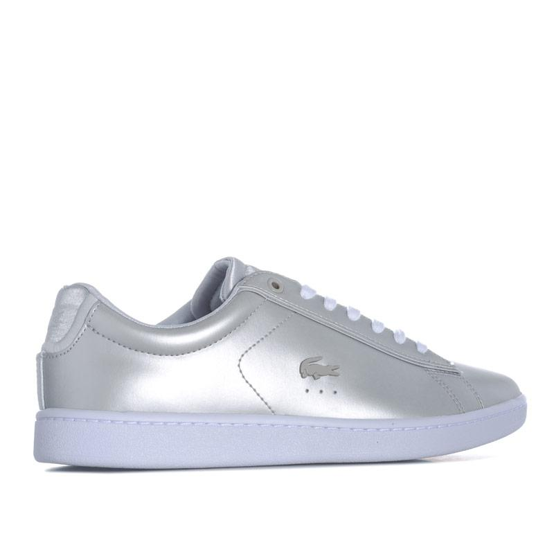 Lacoste Womens Carnaby Evo Metallic Leather Trainers Silver
