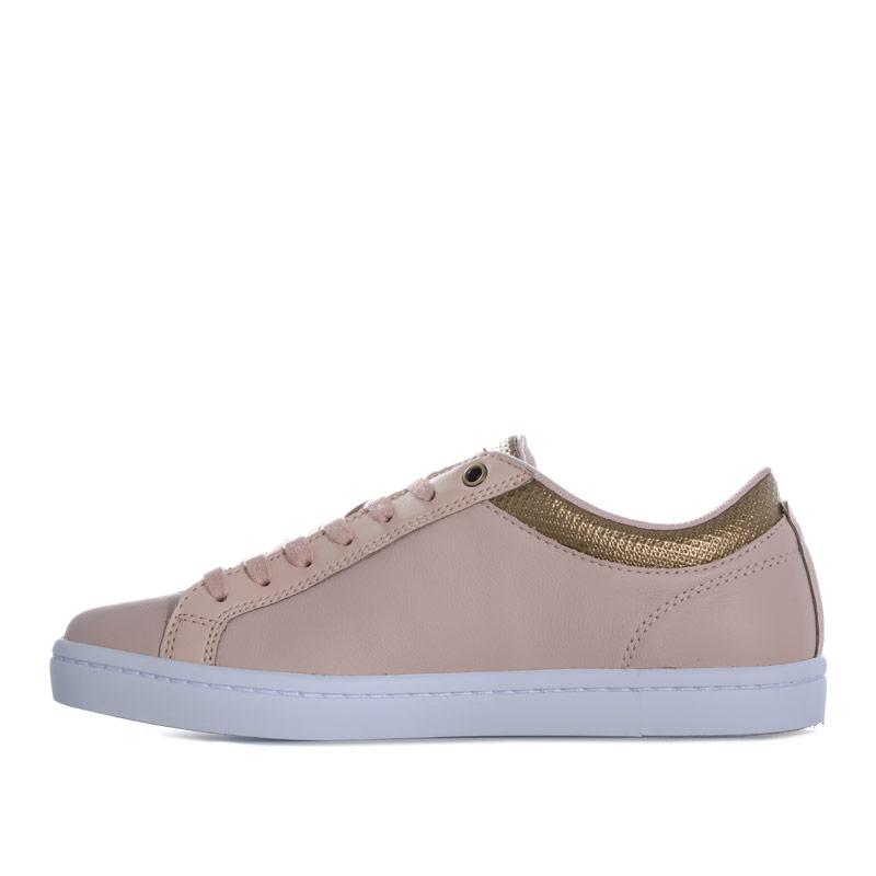 Lacoste Womens Straightset Leather Trainers Natural