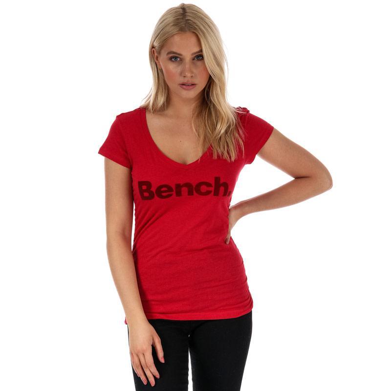 Bench Womens Put Across V-Neck T-Shirt Red