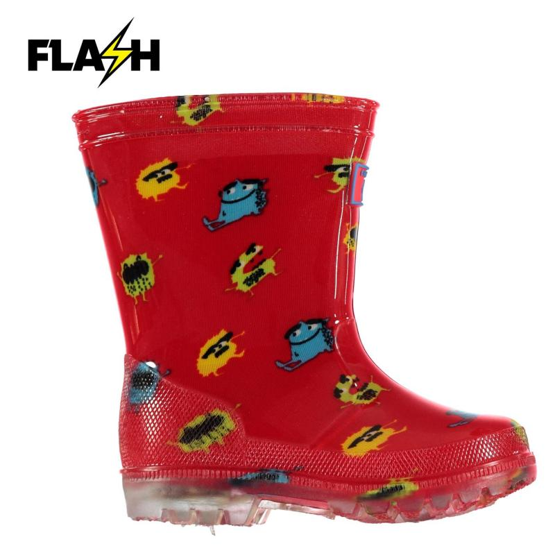 Crafted Essentials Flashing Light Infants Wellies Monster Print