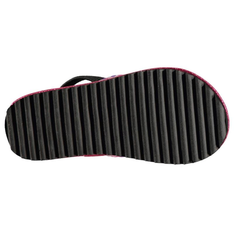 Skechers Twinkle Toes Girls Flip Flops Black/Hot Pink