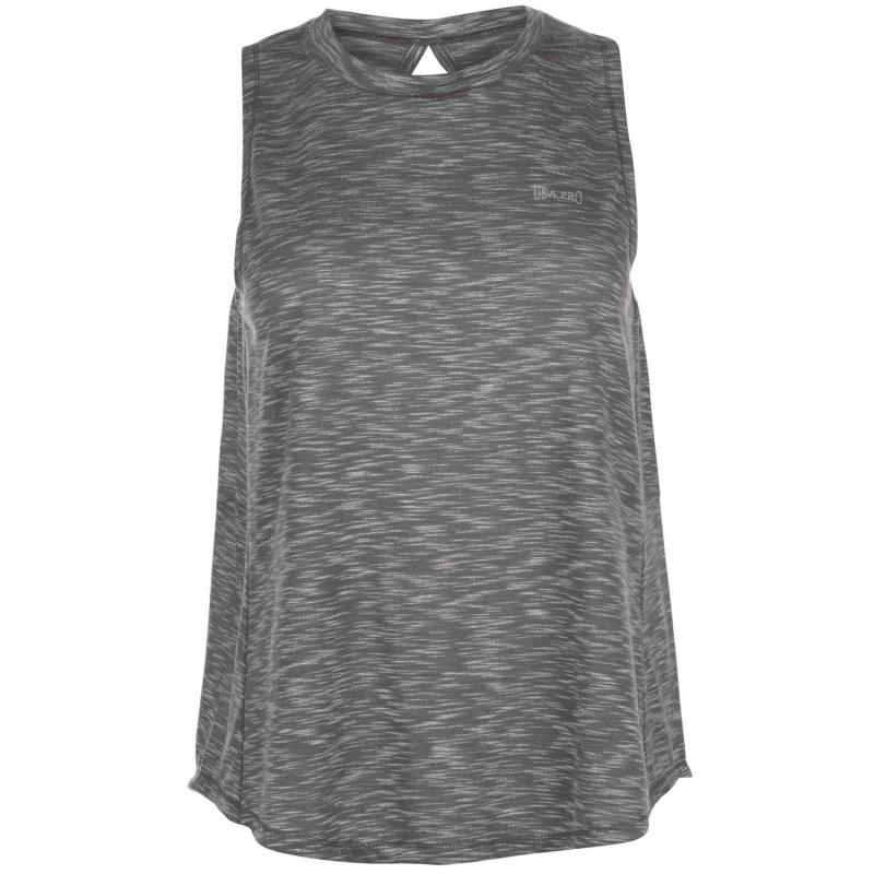 USA Pro Loose Tank Top Ladies Charcoal Marl