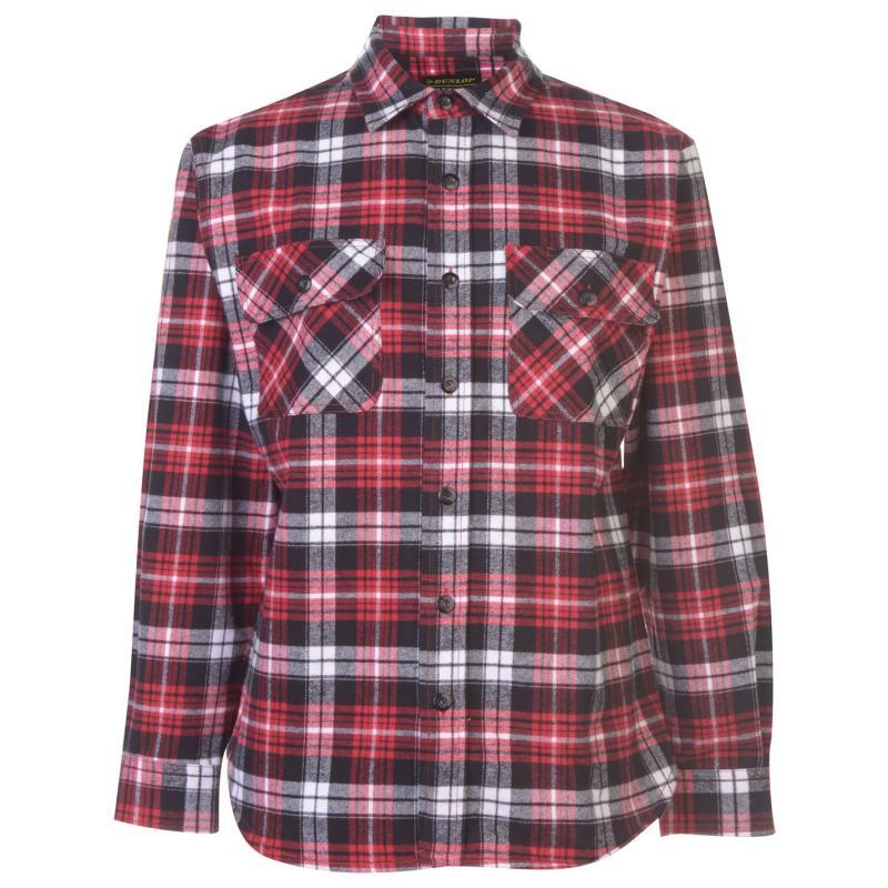 Dunlop Brawny Workwear Shirt Mens Black/Red