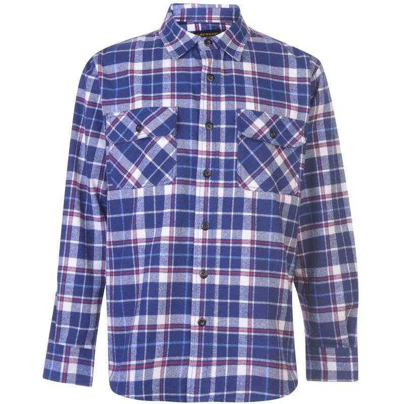 Dunlop Brawny Workwear Shirt Mens Navy/White