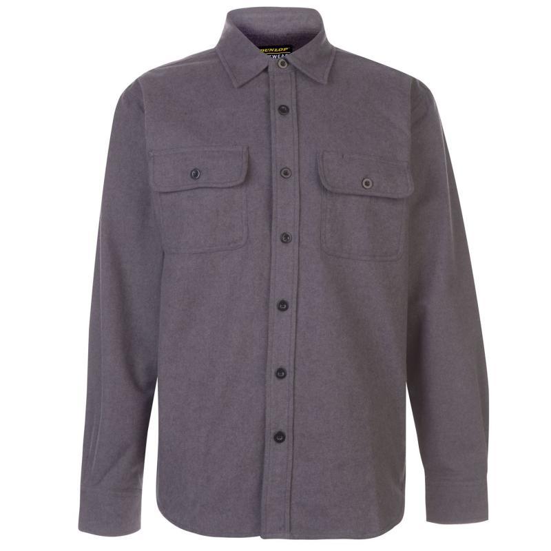 Dunlop Chamois Workwear Shirt Mens Charcoal