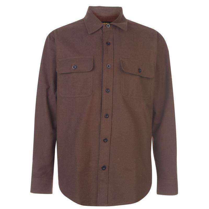 Dunlop Chamois Workwear Shirt Mens Brown