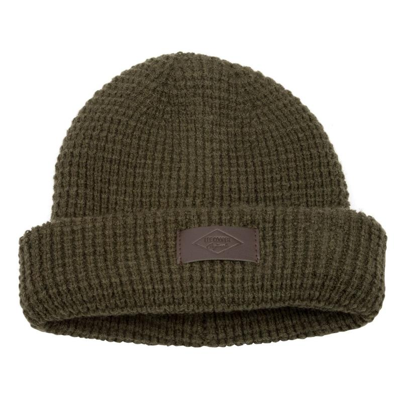 Lee Cooper Knitted Beanie Mens Army Green