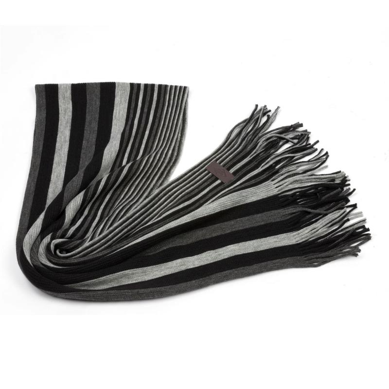 Lee Cooper Striped Scarf Mens Black/Grey