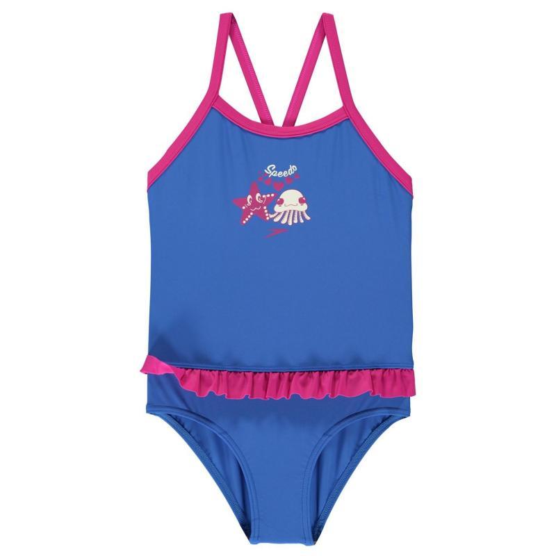 Speedo Frill Swimsuit Infant Girls Blue/Pink