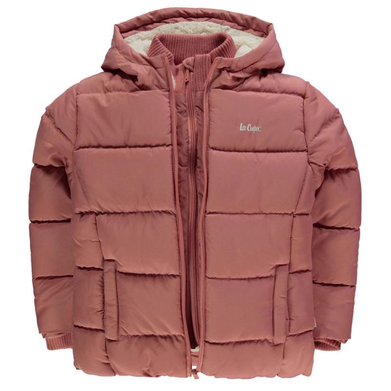 Lee Cooper 2 Zip Bubble Jacket Junior Girls Bright Red