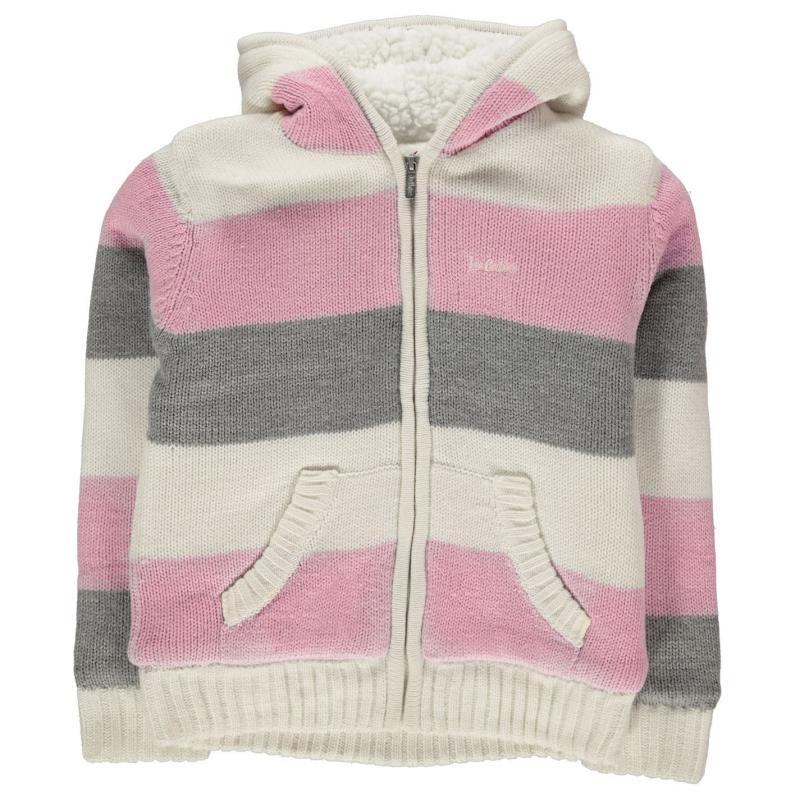 Lee Cooper Stripe Zip Jumper Junior Girls GreyM/Crm/Pnk