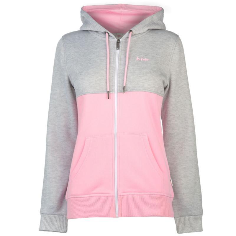 Mikina Lee Cooper Cut and Sew Zip Hoodie Ladies Navy/Pink