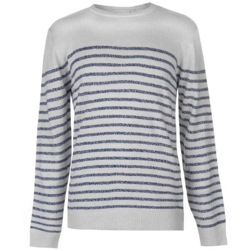 Lee Cooper Knitted Striped Jumper Mens Grey Marl