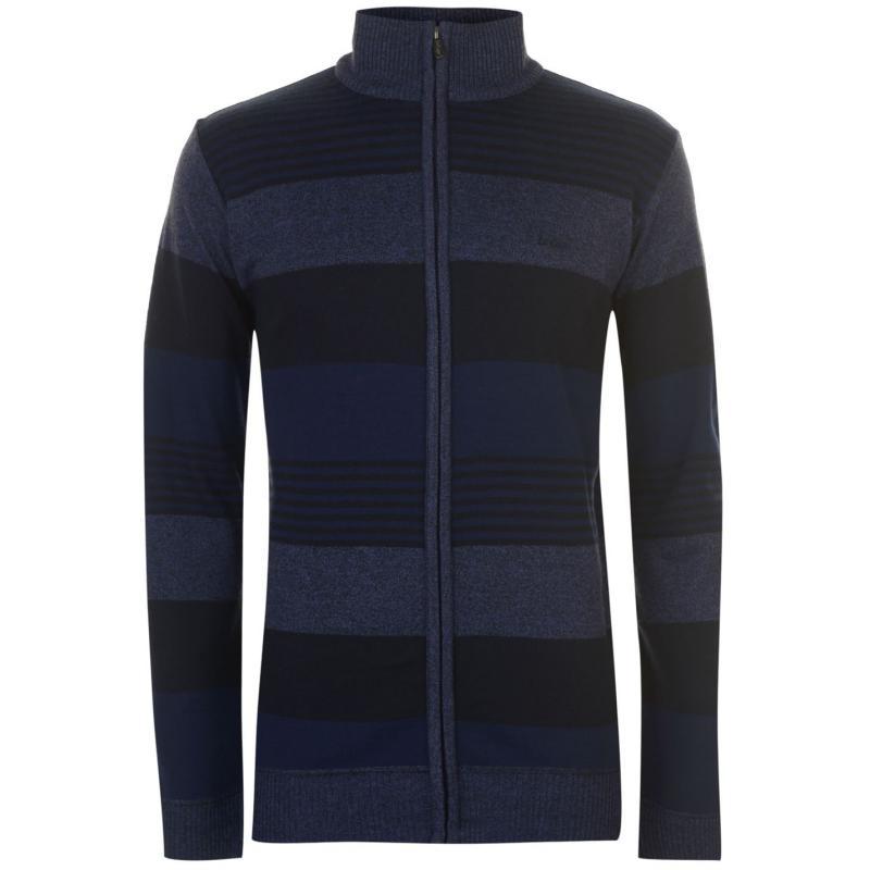 Lee Cooper Zip Knit Cardigan Mens Navy/Blue