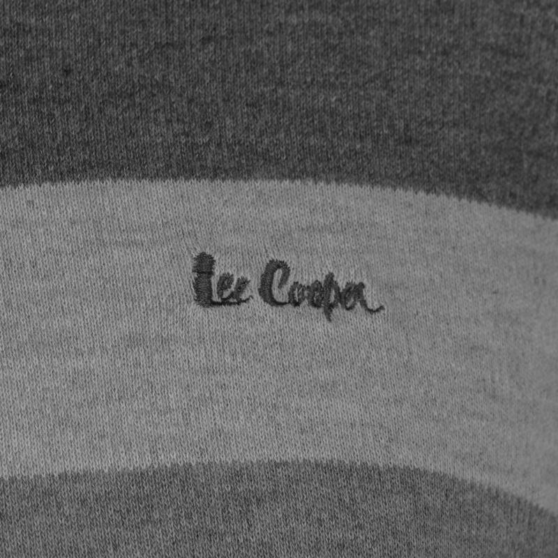 Lee Cooper Stripe Crew Knit Jumper Mens Gry M/Charcoal