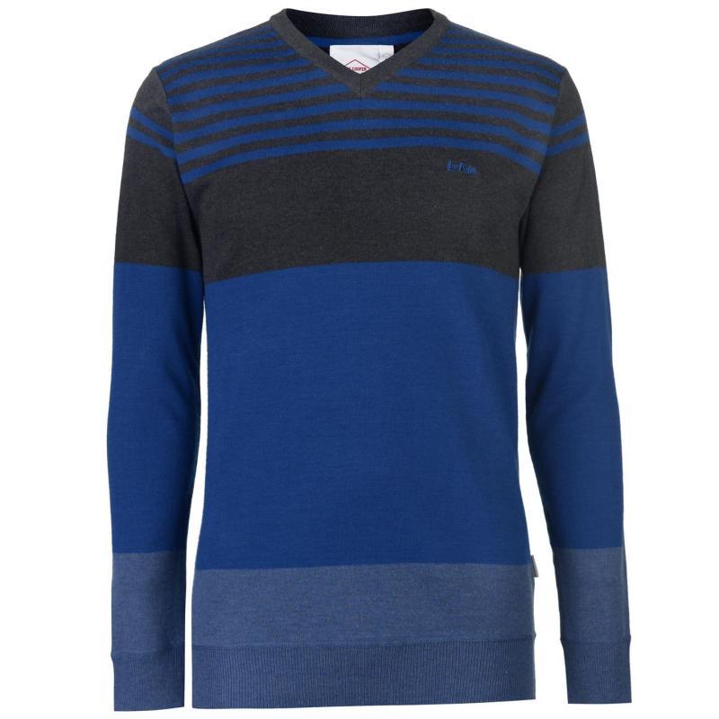 Lee Cooper Stripe V Neck Knitted Jumper Mens Burg/Char/Grey