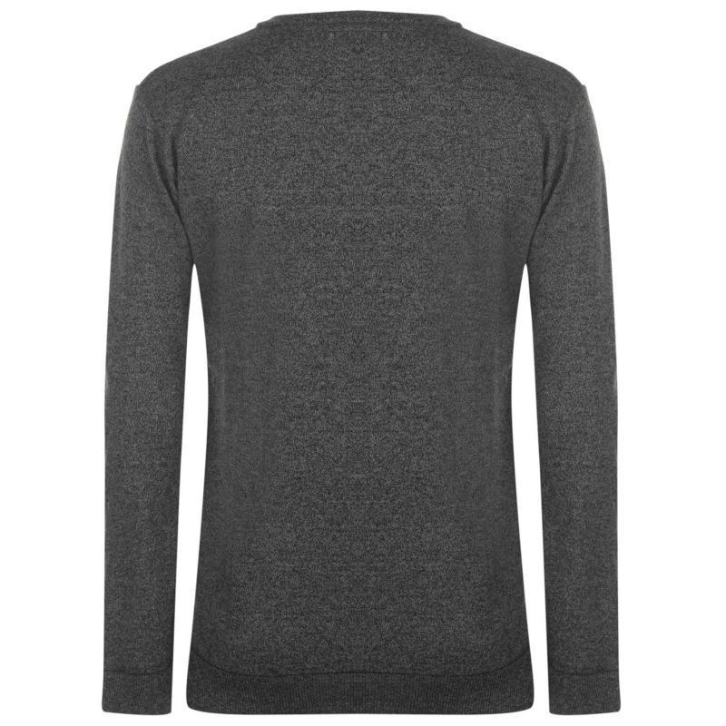Lee Cooper V Neck Knit Jumper Mens Grey Melange