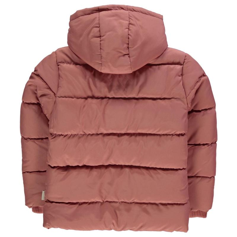 Lee Cooper 2 Zip Bubble Jacket Junior Girls Dusky Pink
