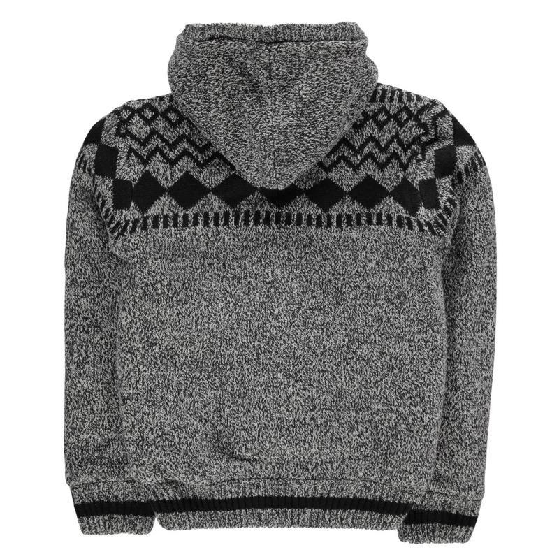 Lee Cooper Fairisle Lined Knitted Jacket Junior Boys Black Marl