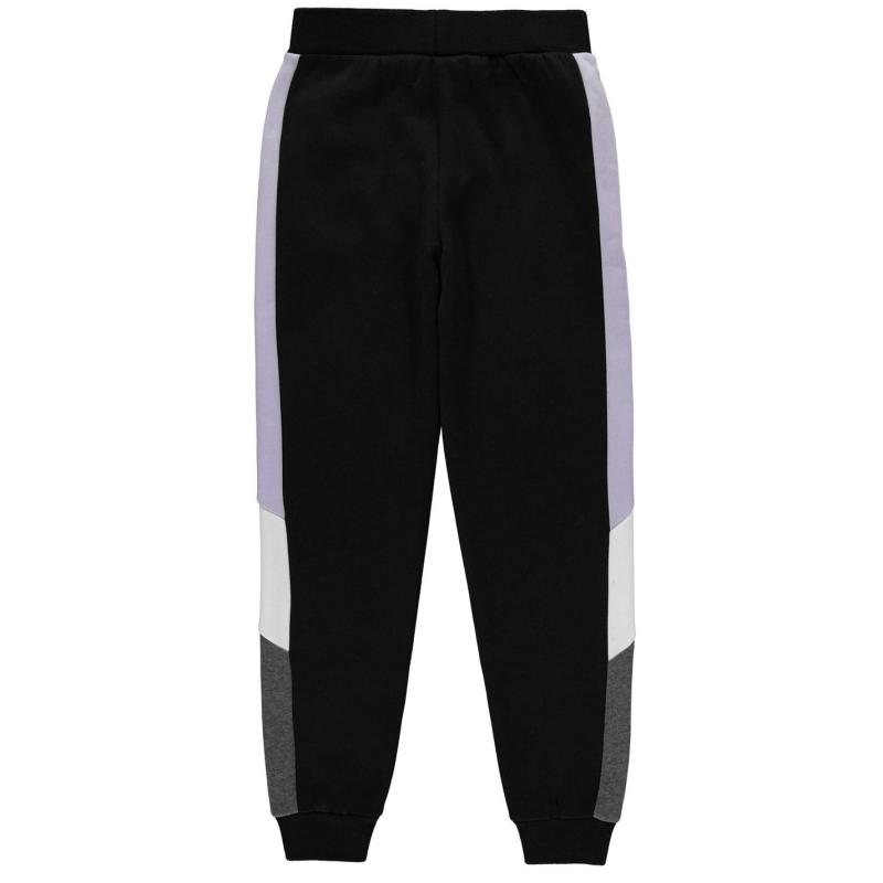 Everlast Contrasting Panel Joggers Junior Girls Black/Lilac