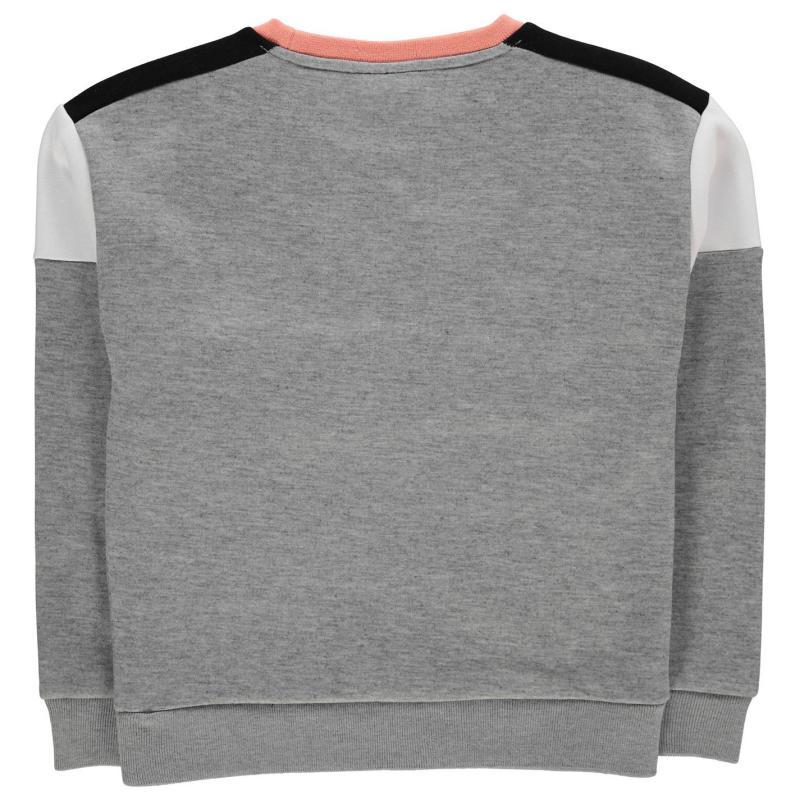 Everlast Large Logo Crew Sweatshirt Junior Girls Grey Marl/Peach