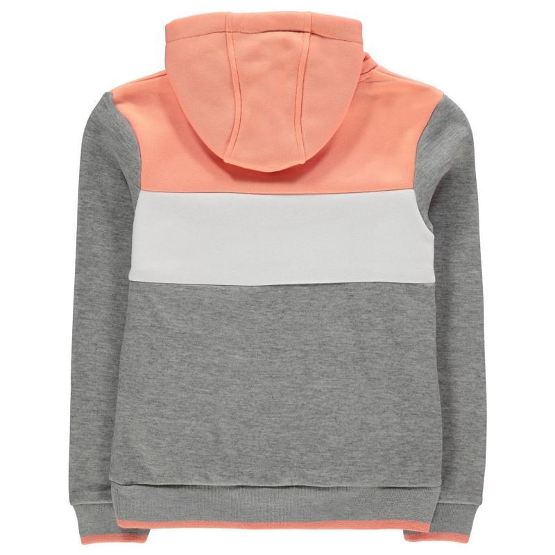 Everlast Large Logo OTH Hoody Junior Girls Grey Marl/Peach