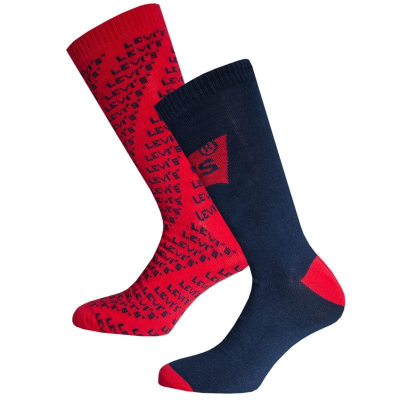 Ponožky Levis Mens All Over Print Logo 2 Pack Socks Red navy