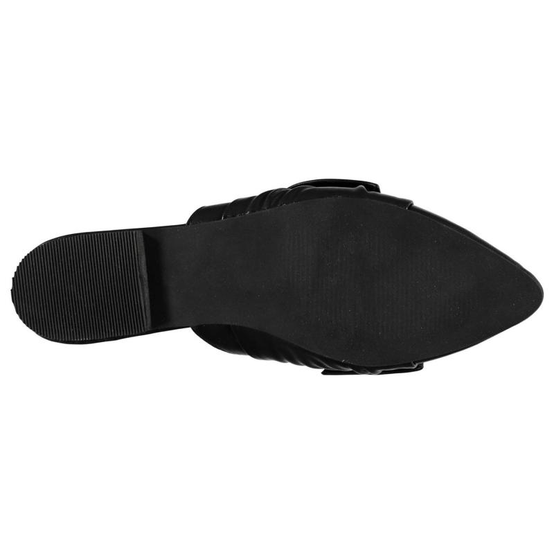 Rock and Rags Bow Ladies Mule Shoes Black