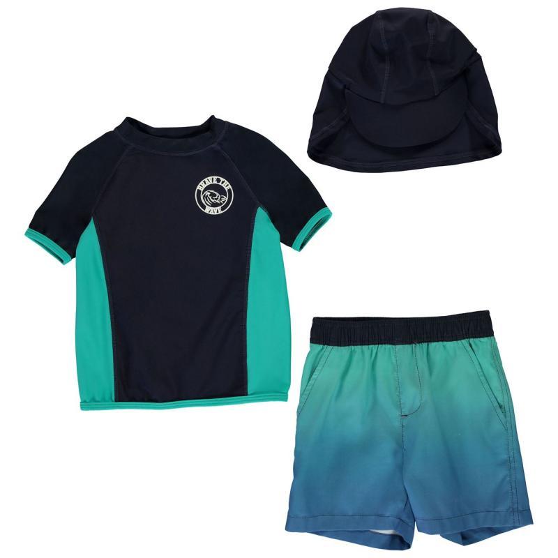 Plavky Crafted Essentials 2 Piece Sun Safe Suit Child Boys 3Pc Blue Ombre
