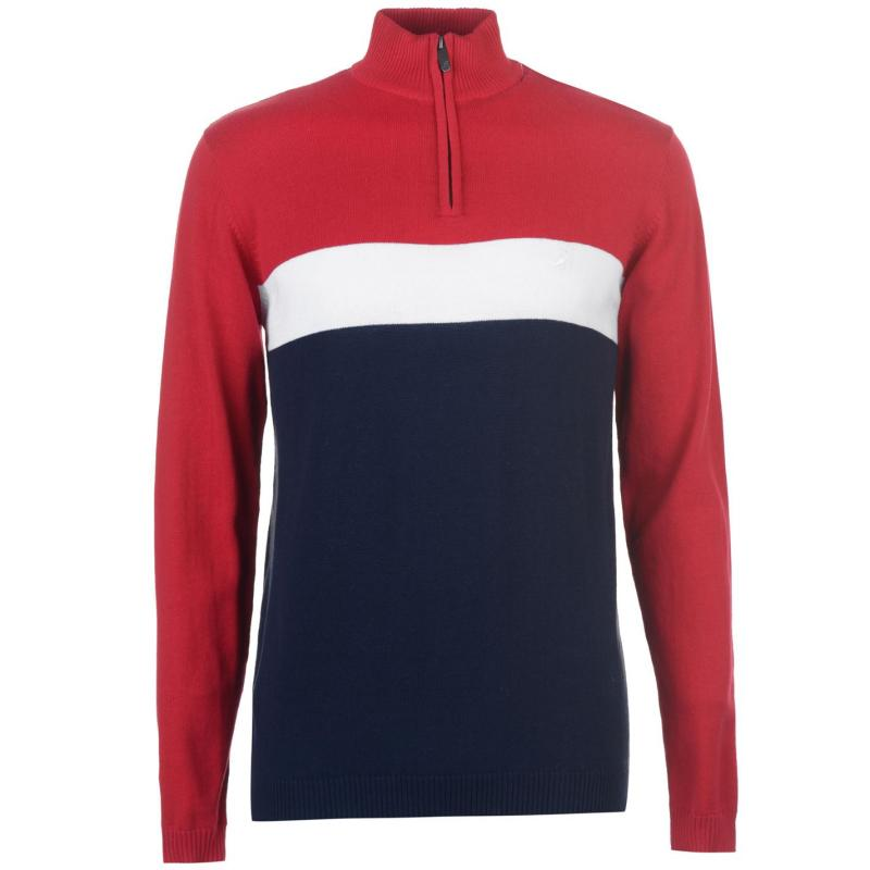Kangol Knitted Zip Top Mens Red/Navy/White
