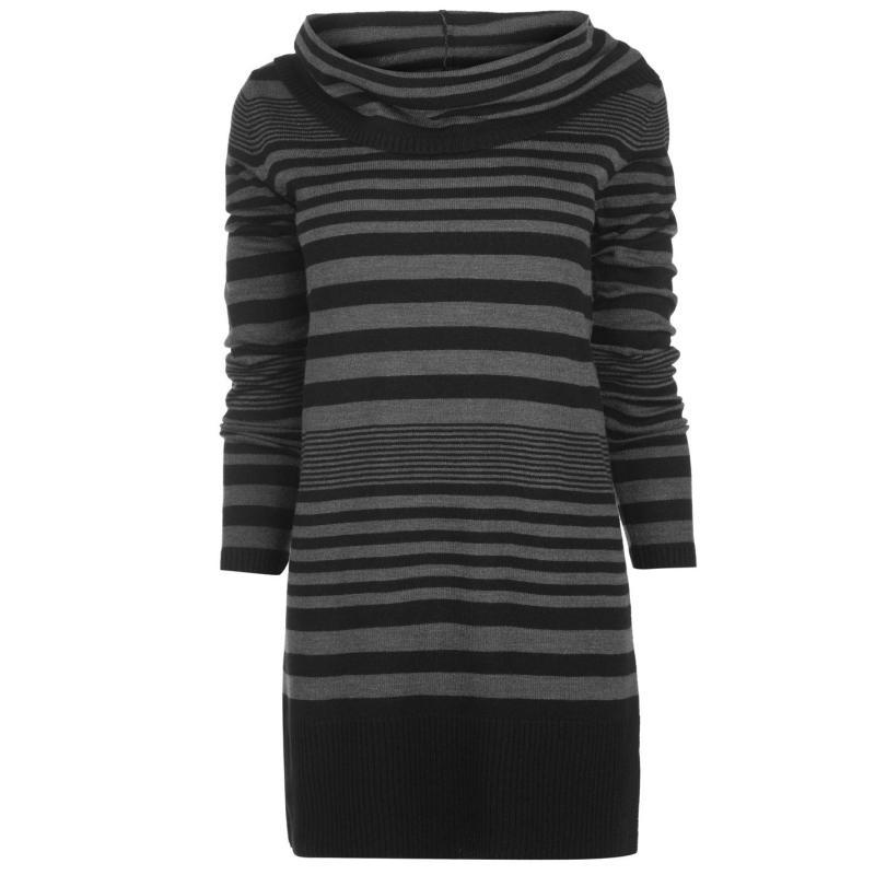 Svetr Lee Cooper Essential Cowl Knit Jumper Ladies Black Stripe