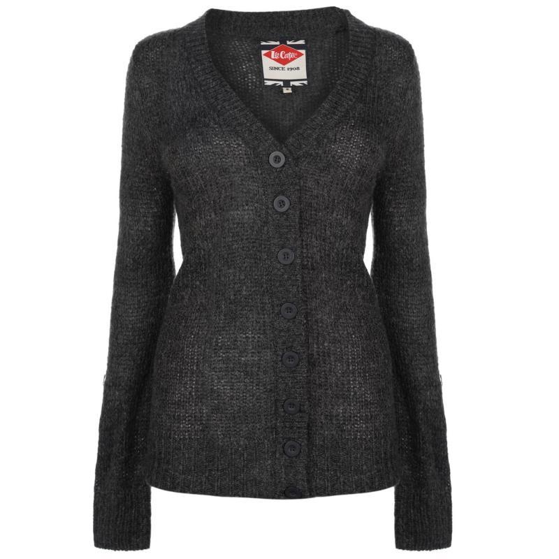 Svetr Lee Cooper Essential Long Cardigan Ladies Charcoal